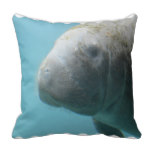 Large Manatee Underwater Throw Pillow