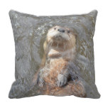 Otter Back Float Throw Pillow