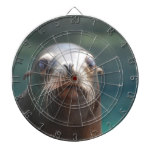 Sea Lion with Whiskers Dartboard With Darts
