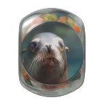 Sea Lion with Whiskers Glass Candy Jars