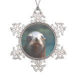 Sea Lion with Whiskers Snowflake Pewter Christmas Ornament